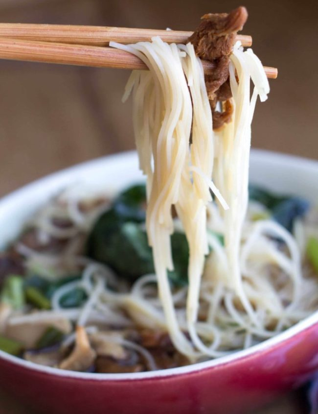 Chinese mushroom noodle soup