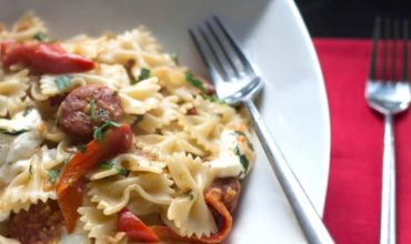 15 Minute Chorizo & Roasted Red Pepper Pasta