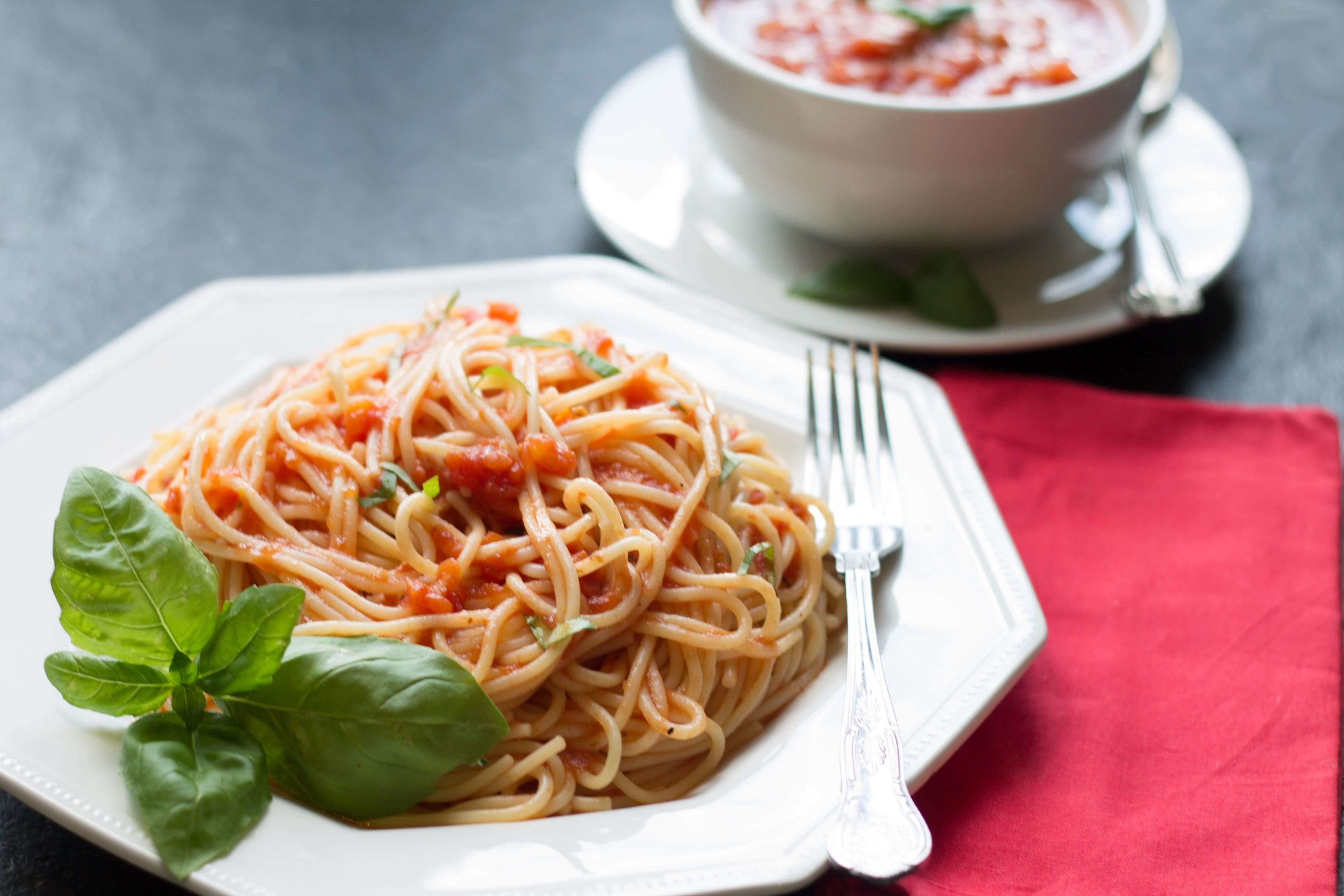a bowl of Quick & Easy Tomato Basil Sauce
