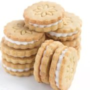 A stack of golden oreo cookies