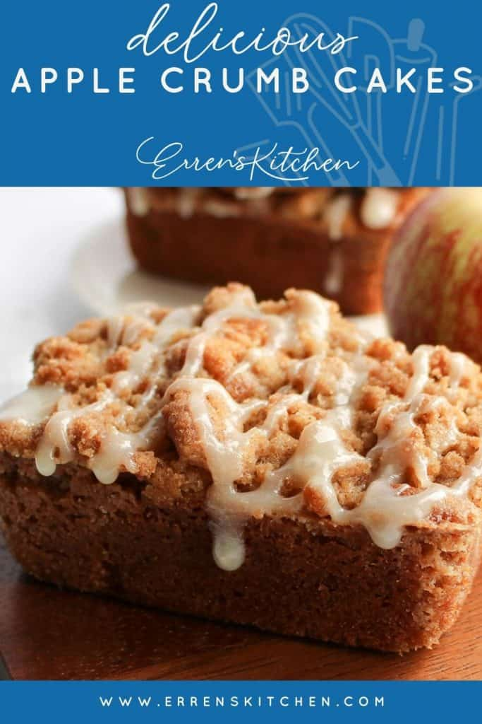 apple crumb cakes drizzled with cream cheese icing
