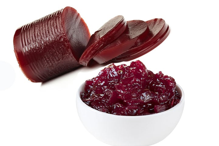 Two types of cranberry sauce side by side