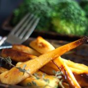 parsnips on a plate with herbs