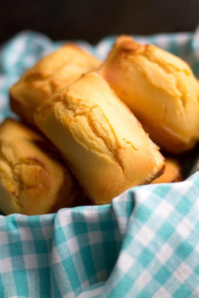 Sweet Cornbread mini loaves in a basket ready to eat