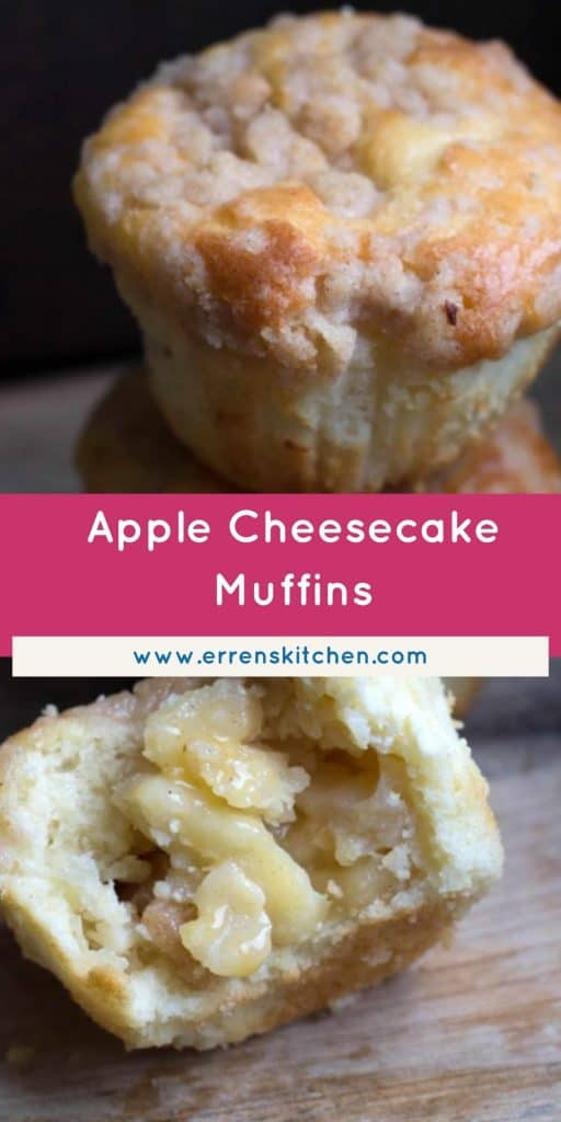 apple cheesecake muffins, one cut in half to show the filling