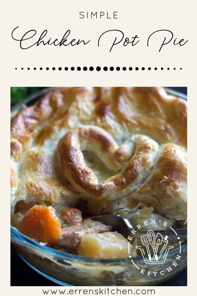 easy chicken pot pie ready to eat with filling visible