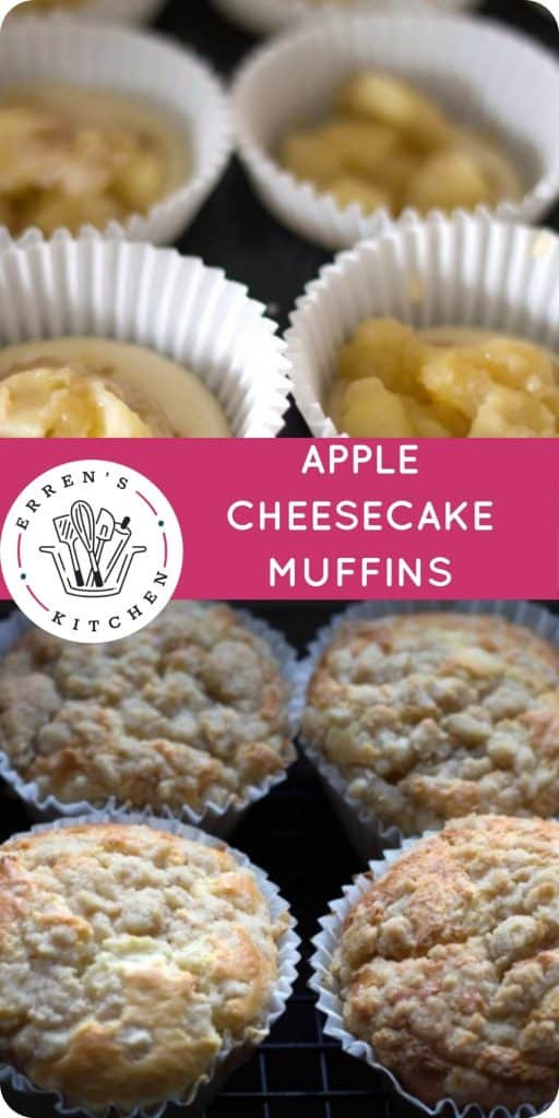 a collage of picture of apple muffins baked and unbaked