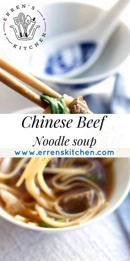 beef noodle soup with chopsticks and noodles