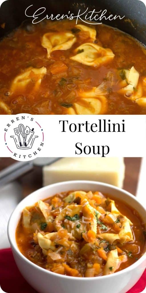 a collage of pictures showing tortellini vegetable soup being cooked and the finished dish