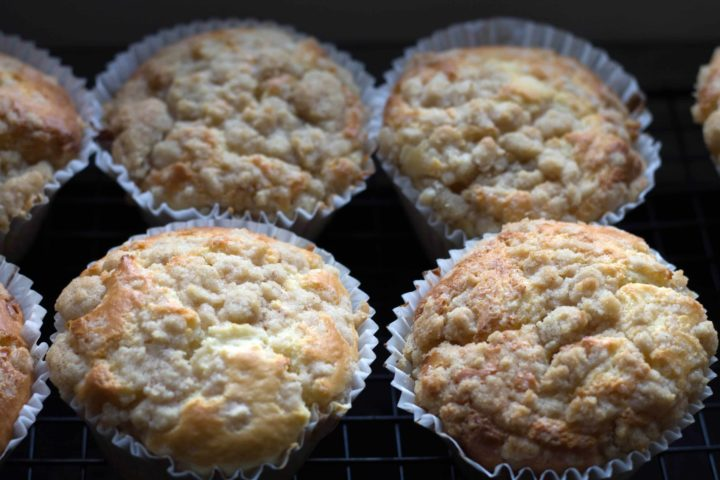 Apple Cheesecake Muffins - Erren's Kitchen - These little beauties are filled with an apples as well as a layer of cheesecake & topped with a cinnamon crumbs streusel