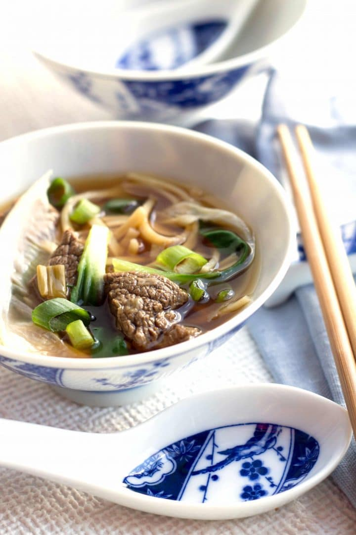 Chinese Beef Noodle Soup ready to serve