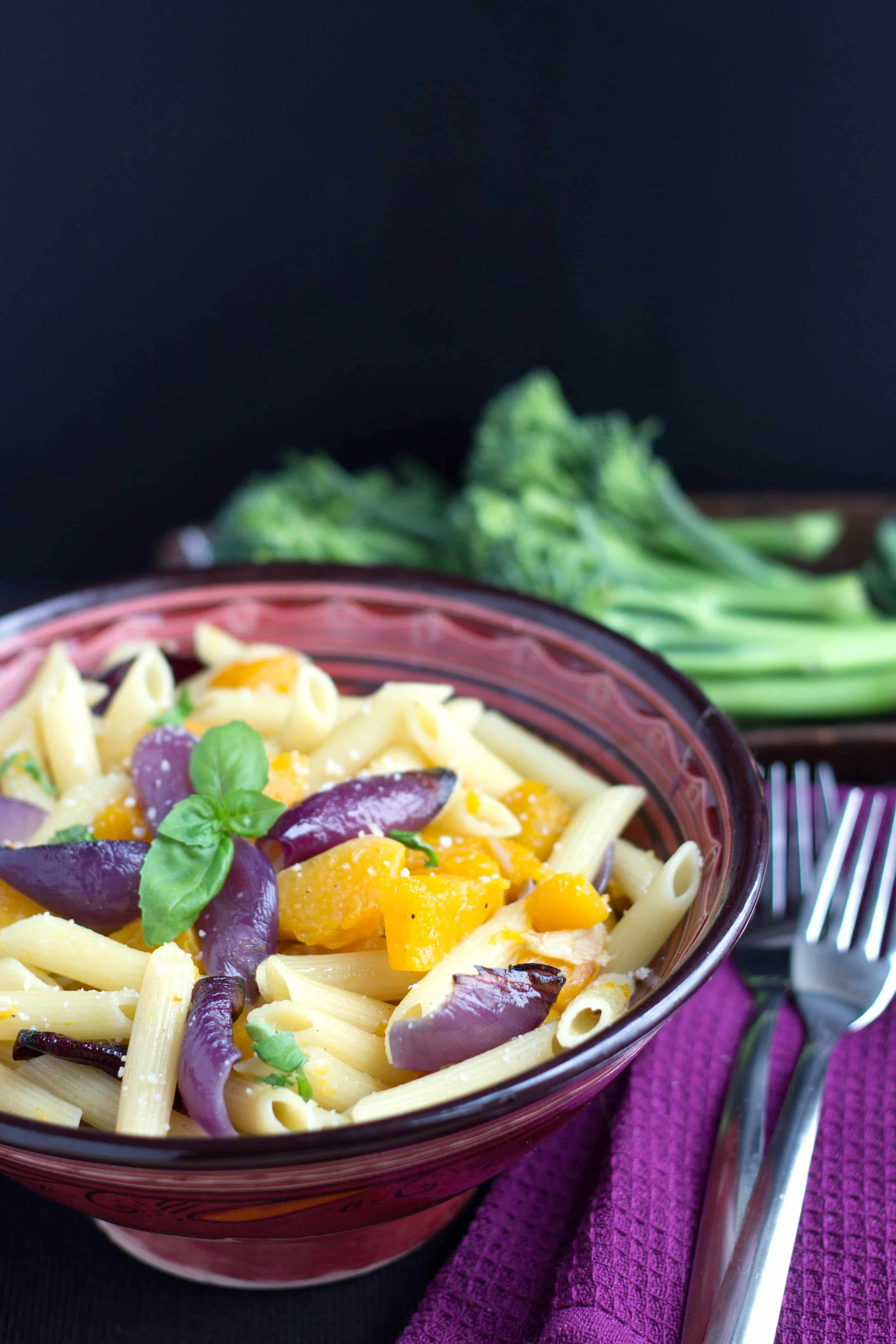 Roasted Squash & Red Onion Pasta - Erren's Kitchen - This recipe makes a satisfying and healthy supper that gives pasta an autumnal twist.