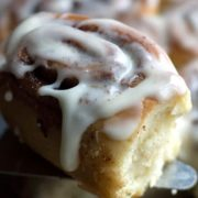 A close up of quick rise cinnamon buns