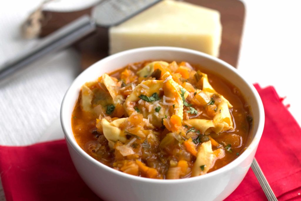 Tortellini Vegetable Soup  in a bowl ready to serve- Erren's Kitchen - This recipe is filling meal that's packed with flavor and healthy ingredients!
