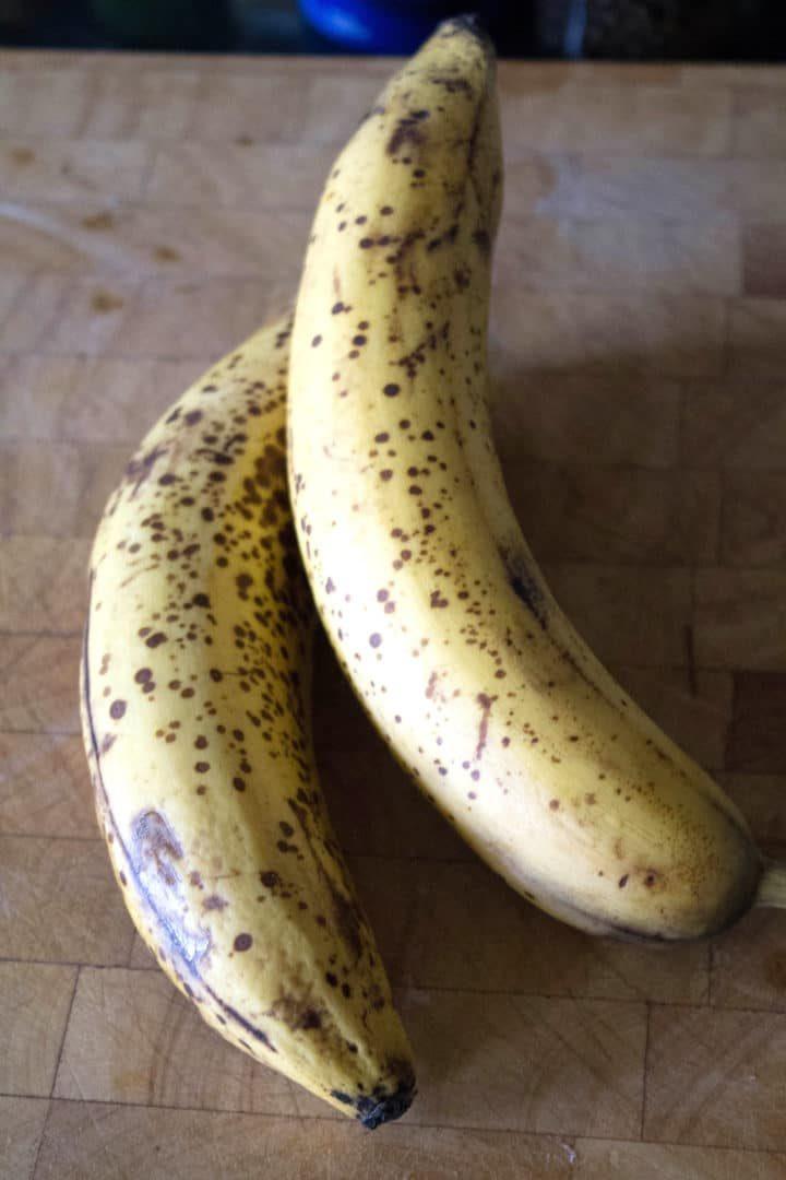 two overripe bananas