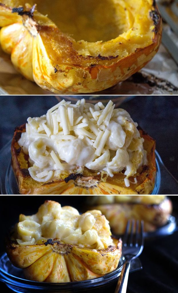Cheesy Pasta Stuffed Squash - Erren's Kitchen - a colorful & striking dish that can be served alone as a vegetarian supper or as a side dish for holidays or dinner parties.