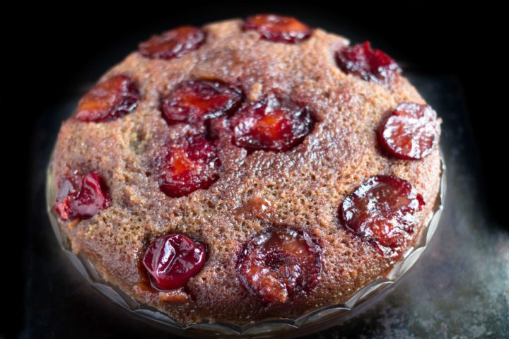 plum upside down cake fresh from the oven