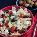 Quick & Easy Pasta with Tomatoes, Feta & Olives in a red
