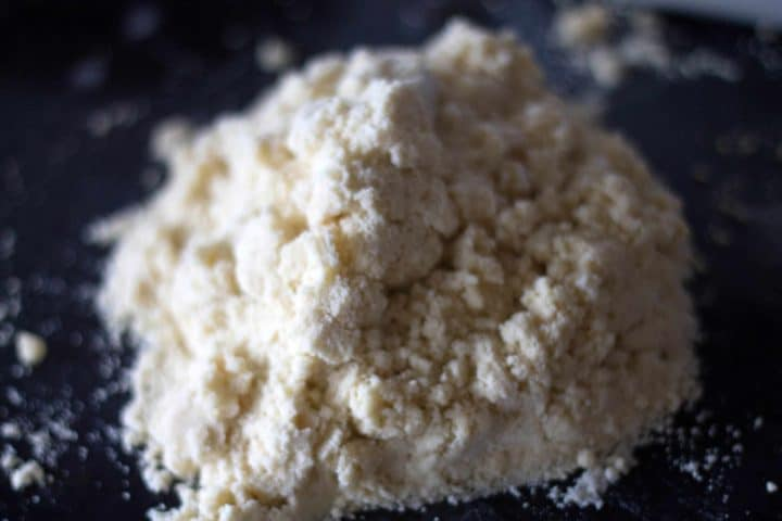 The dough mixture poured onto a floured surface