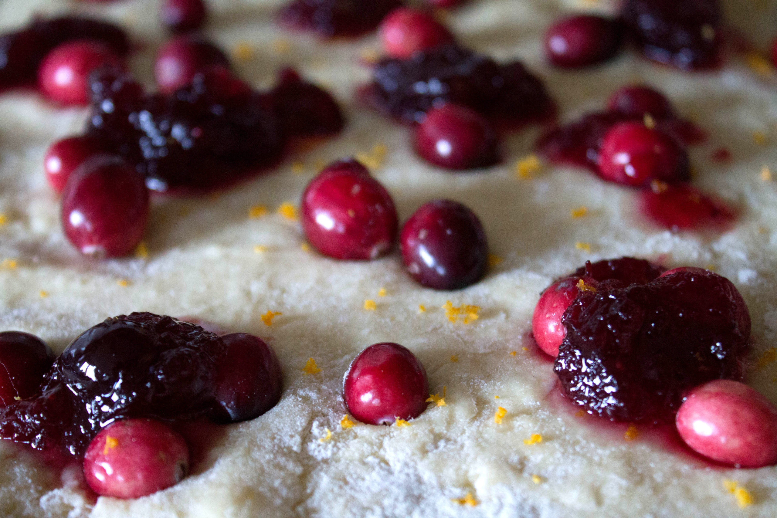 scone dough with cranberries and grated orange zest
