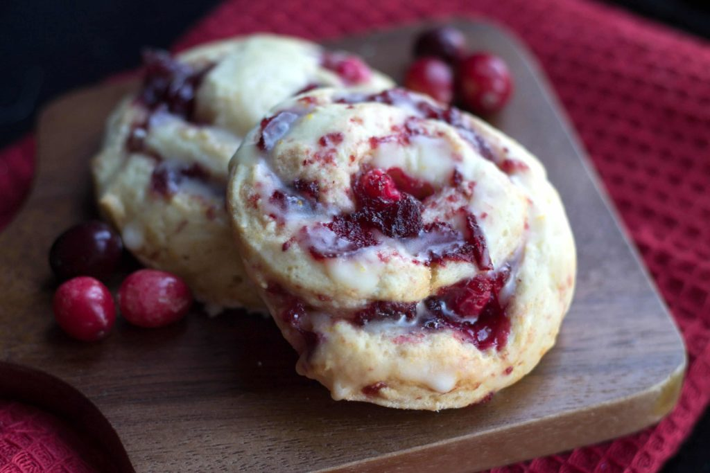 iced cranberry scones ready to eat