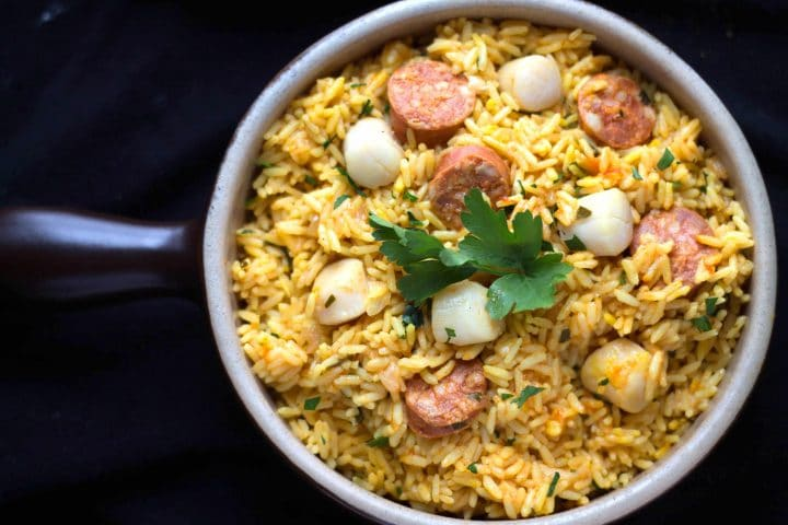 Easy Scallops & Chorizo Paella in a pan ready to serve