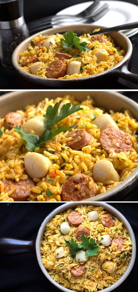 Easy Scallops & Chorizo Paella