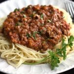 A close up photo of Quick & Easy Spaghetti Bolognese on a plate.