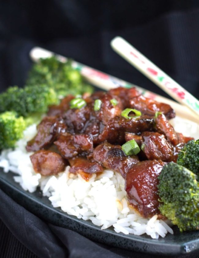 honey soy chicken with chopsticks rice and broccoli