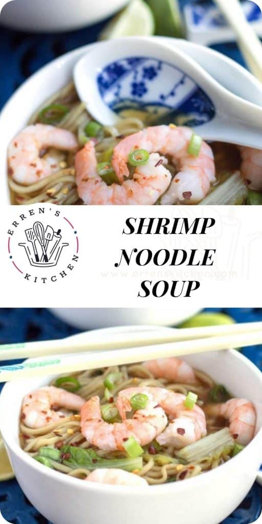 shrimp noodle soup in a bowl ready to eat