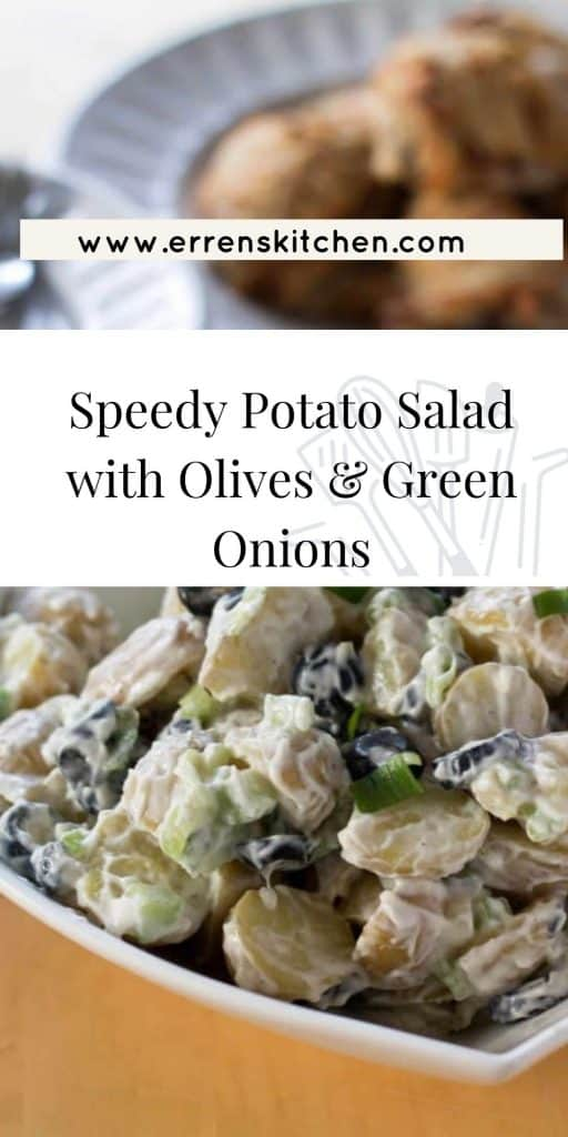 potato salad with olives and green onions ready to eat