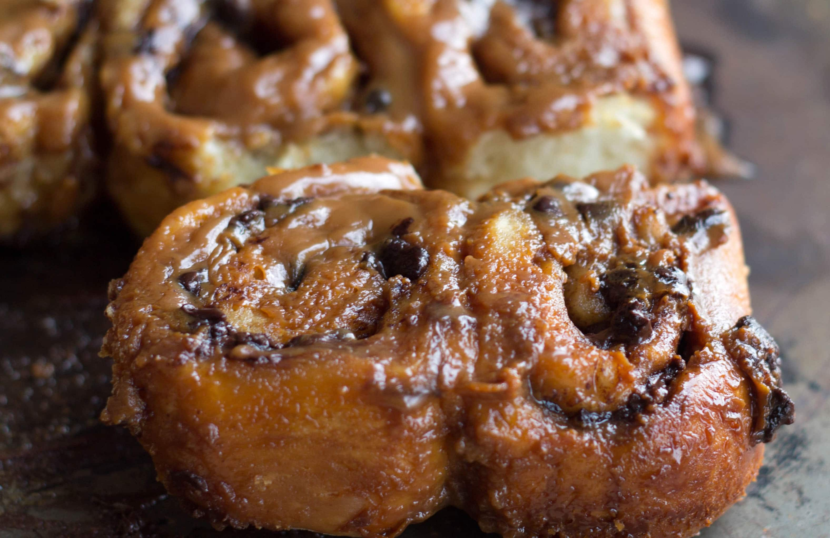Quick Rise Chocolate & Salted Caramel Sticky Buns - Erren's Kitchen