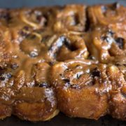 A close up of quick rise chocolate and salted caramel sticky buns