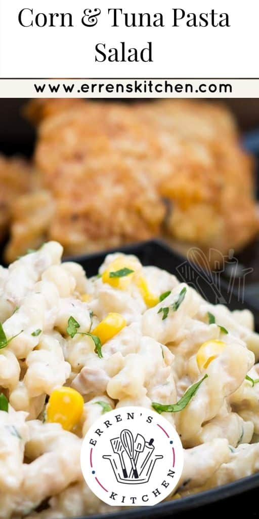 Corn & Tuna Pasta Salad ready to eat