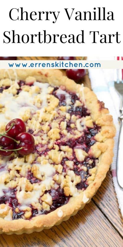 overhead shot of cherry vanilla tart ready to eat
