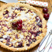 an overhead shot of cherry vanilla shortbread tart