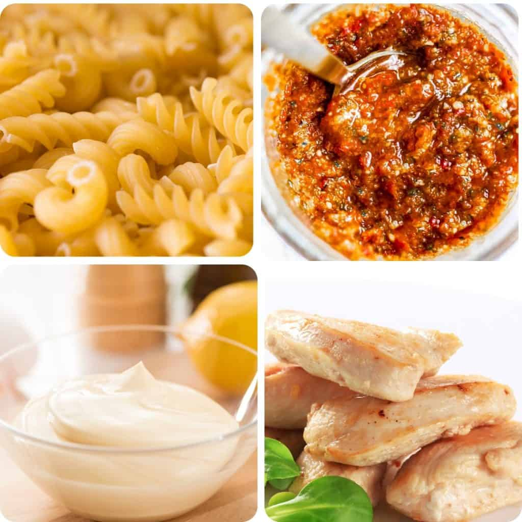 dried pasta, a jar of pesto, mayonnaise and cooked chicken