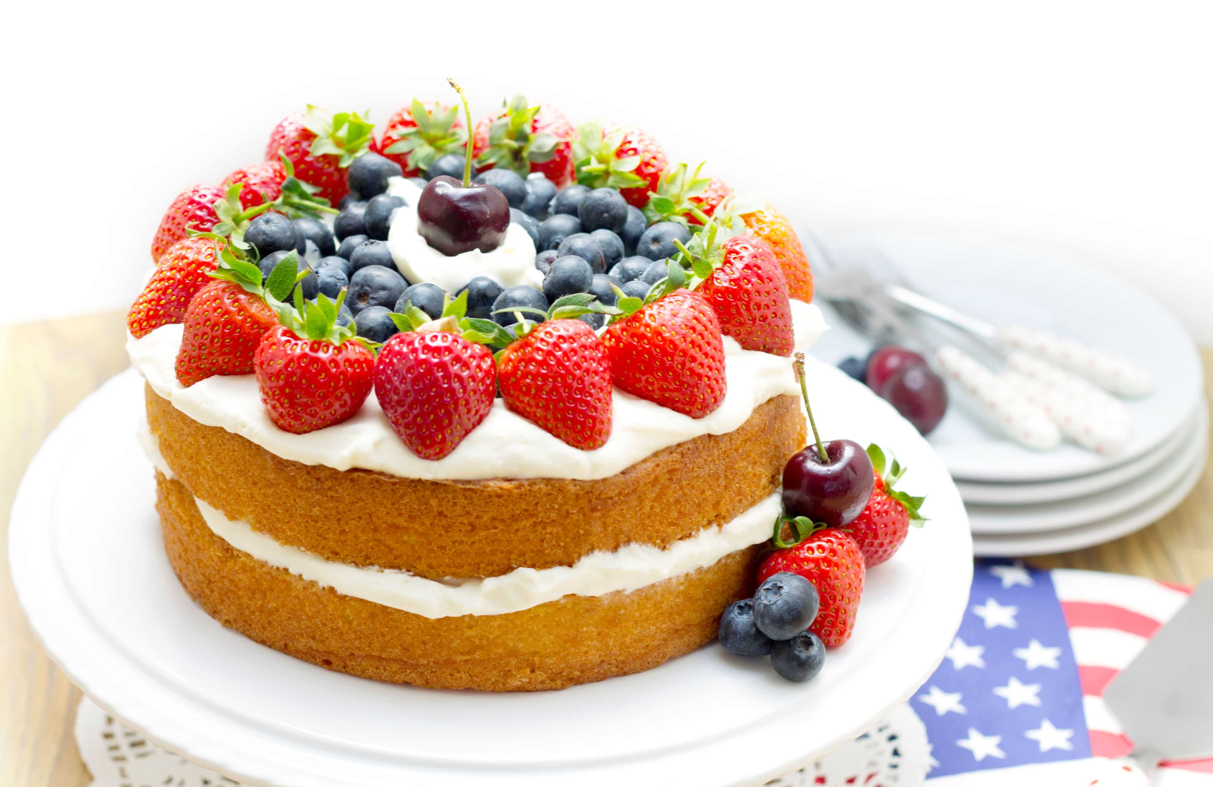 patriotic vanilla cream sponge cake red white and blue