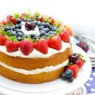 Patriotic Vanilla Cream Sponge Cake