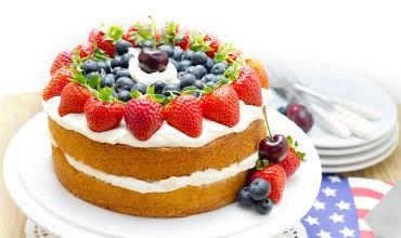 Patriotic Vanilla Cream Sponge Cake feature