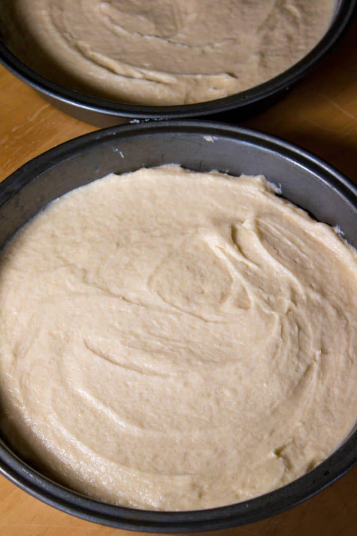 The batter in the pans ready to bake