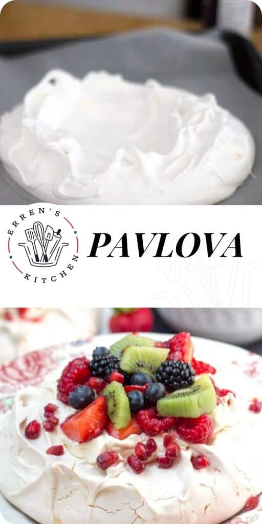 a pavlova covered in fruit, ready to eat