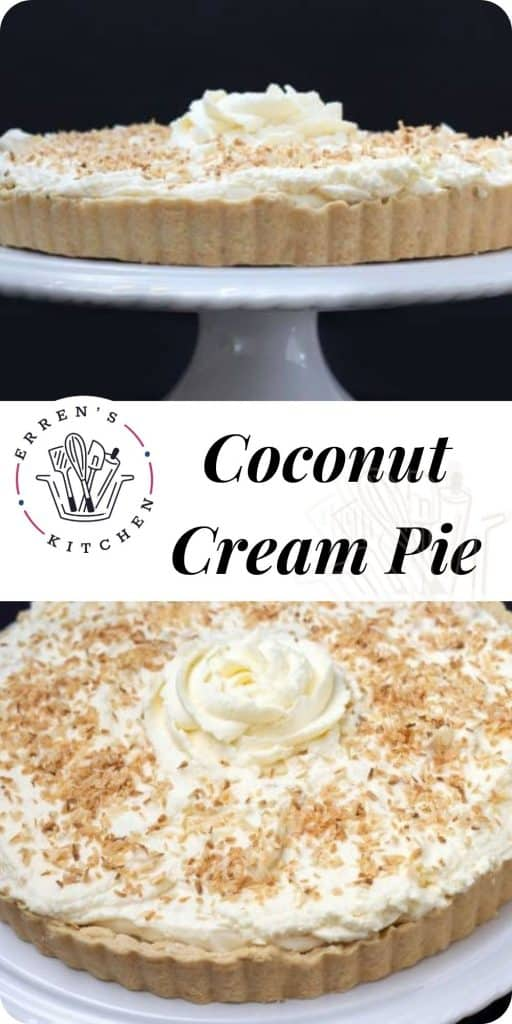 two pictures of a coconut cream pie ready to eat