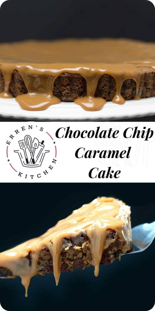 a piece of chocolate cake with caramel drizzled over and a whole cake