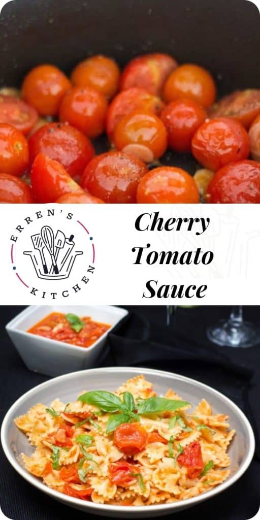 cherry tomatoes and a bowl of pasta with tomato sauce