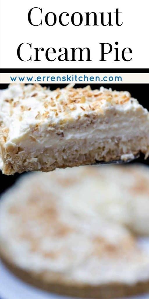 a slice of coconut cream pie