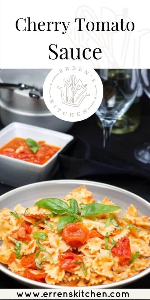 A bowl of cherry tomato sauce on pasta