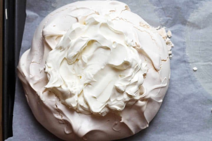 meringue shell filled with whipped cream