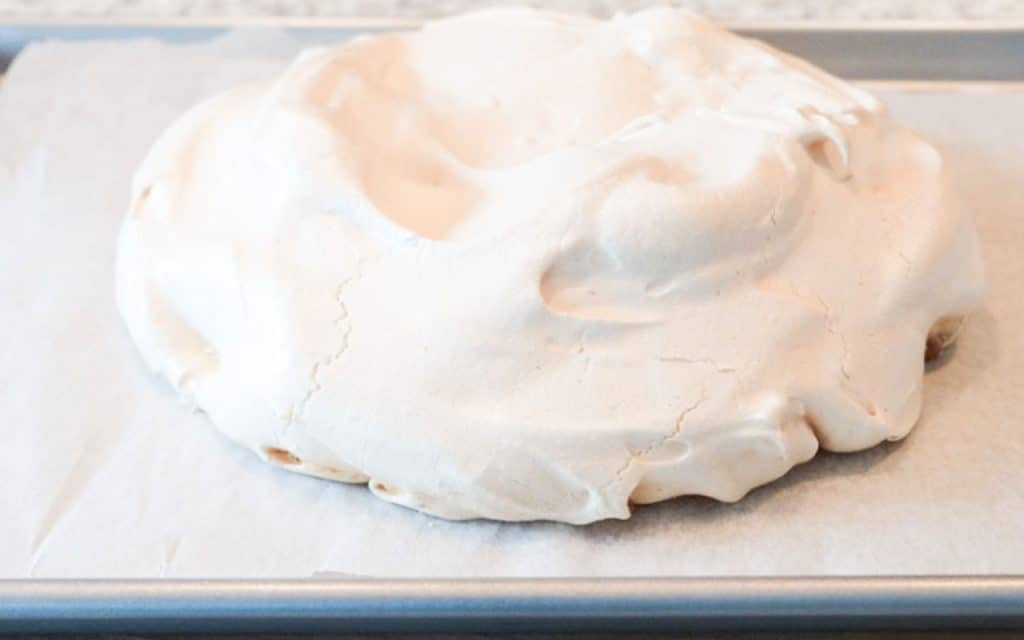 A baked pavlova on a pan