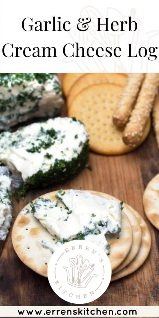 garlic and herb cream cheese log served on crackers